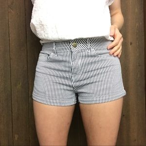 H&M Pin-Striped High Waisted Jean Shorts Size 2